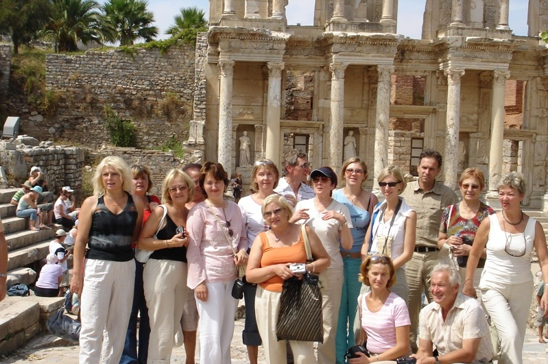 Visiting Ephesus with a group of travelers from Latvia