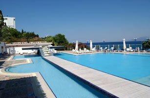 View of the pool of Kismet Hotel in Kusadasi