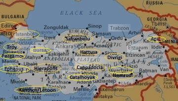 Map Of Unesco Sites In Turkey