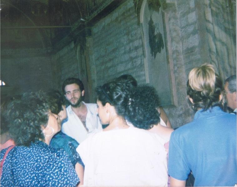 Explaining biblical mosaics to an Italian group in Chora Church
